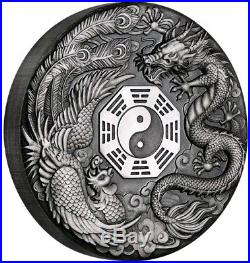 2019 2 Oz Silver Tuvalu $2 DRAGON AND PHOENIX Yin Yang Mythical Antique Coin