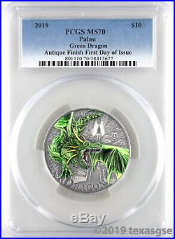 2019 $20 Palau Green Dragon 2oz Silver Coin PCGS MS70 First Day of Issue