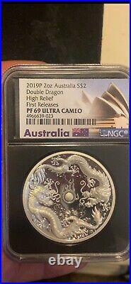 2019 2oz Silver Australian Double Dragon HR/FR PF69 Ultra Cameo