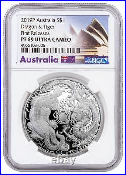 2019 Australia 1 oz Silver Tiger & Dragon Proof $1 NGC PF69 UC FR Opera SKU58149