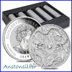 2019 Australia Double Dragon 1 oz. 9999 Silver Mint Sealed Roll of 20