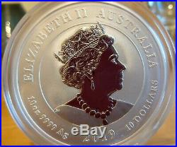 2019 Australia Perth Mint 10 oz Silver Dragon & Phoenix Coin Mintage 888 Only