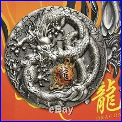 2019 DRAGON 5 oz SILVER ANTIQUED COLORED HIGH RELIEF COIN MINTAGE 388 TUVALU