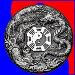 2019 DRAGON & PHOENIX YIN YANG 2 oz ANTIQUED SILVER COIN TUVALU