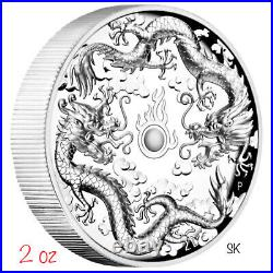 2019 Double Dragon 2oz High Relief Proof Silver Coin