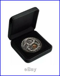 2019 Dragon 5 oz Silver Antiqued Colored High Relief Coin, ONLY 388 minted