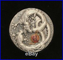 2019 Dragon 5oz Silver Antiqued Colored High Relief Coin Mintage 388