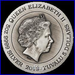2019 Dragon 5oz Silver Antiqued Coloured High Relief Coin