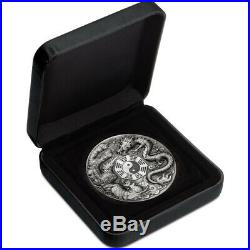 2019 Dragon & Phoenix With Bagua 5oz Silver Antiqued Coin