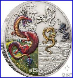 2019 Mythical Dragons Red Dragon and The Four Dragons 2oz Silver Coins