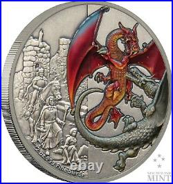 2019 Mythical Dragons The Red Dragon 2oz Silver Coin Mintage of 2,000