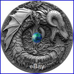 2019 Niue 2 Ounce Norse Dragon Jormungandr High Relief Antique Silver Coin