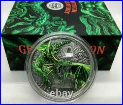 2019 Palau GREEN DRAGON Colorized Antique 2oz. 999 Silver Coin PCGS MS70 FDI