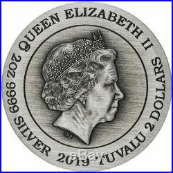 2019 Tuvalu $2 2 oz Double Dragon Antique Silver Coin Very Low 888 mintedINSTOCK