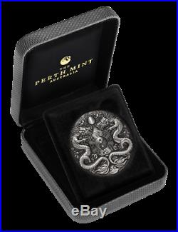 2019 Tuvalu $2 Double Dragon 2oz Silver Antiqued High Relief Rimless Coin