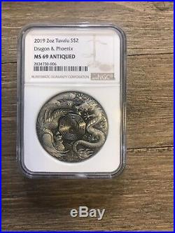 2019 Tuvalu 2 Oz Silver Dragon And Phoenix Antique Coin NGC MS69