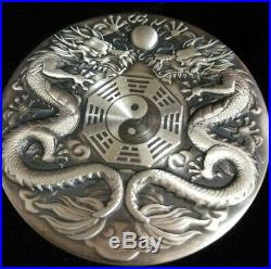 2019 Tuvalu 2 oz Double Dragon Antique Silver Coin Only 888 minted In Hand Ebux