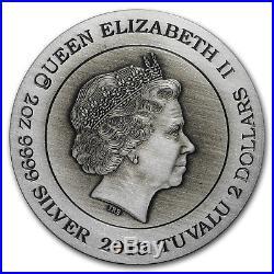 2019 Tuvalu 2 oz Silver Dragon & Phoenix Rimless Antiqued Coin SKU#179210