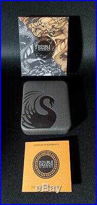 2019 Tuvalu Double Dragon 2 oz. 999 Silver Rimless Antiqued Coin Only 888 Minted