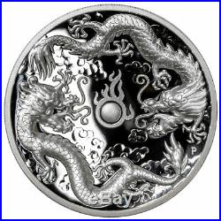 2019P Australia 2 oz High Relief Silver Double Dragon $2 Coin GEM Proof SKU58373