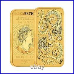 2020 1 oz Gold Perth Mint Dragon Coin Bar
