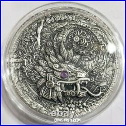2020 2 Oz Silver $2 Niue AZTEC DRAGON QUETZALCOATL Antique Finish Coin