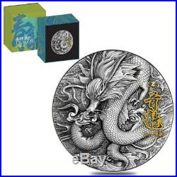 2020 2 oz Silver Niue Azure Dragon Four Auspicious Beasts High Relief $5 Coin