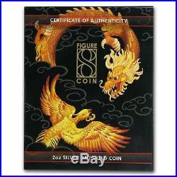 2020 Australia 2 oz Ag Figure Eight Dragon and Phoenix (Antiqued)
