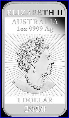 2020 DRAGON 1oz SILVER PROOF RECTANGULAR COIN AUSTRALIA 3,888 MINTAGE ONLY