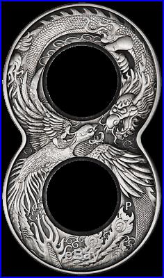2020 Figure Eight Dragon and Phoenix 2oz Silver Antiqued Coin Perth Mint Case