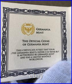 2020 Germania Beasts Fafnir Dragon 2 oz Ultra High Relief Chameleon Silver Coin