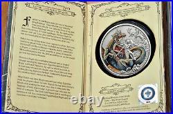 2020 Niue Norse Dragon -3rd in Mythical Dragons 2 oz. 999 antique silver coin