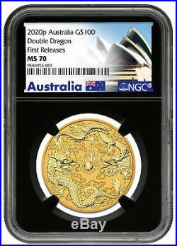 2020-P Australia 1oz Gold Double Dragon $100 NGC MS70 FR Black Core SKU60404
