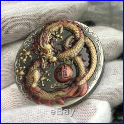2020 Tuvalu Dragon 2 Oz Silver High Relief Antiqued Colored Coin