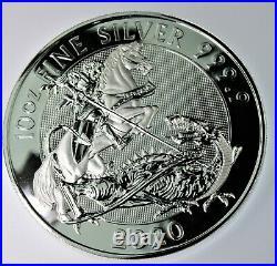 2021 10 Oz Silver Great Britain Valiant St. George & the Dragon BU Coin in cap