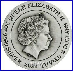 2021 2 Oz Silver $2 Tuvalu DRAGON & TIGER Antique Finish Coin