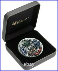 2021 5 Oz Silver $5 Tuvalu Mythical Creatures DRAGON TIGER PHOENIX TORTOISE Coin
