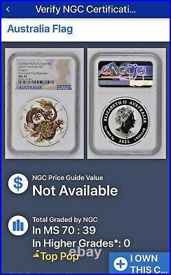 2021 Australia Colorized Dragon 1oz Silver Chinese Myths Legends MS70 FIRST REL