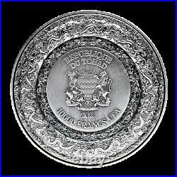 2021 Chad 10,000 Francs Forbidden Dragon 2 oz. 999 Silver Coin 688 Made