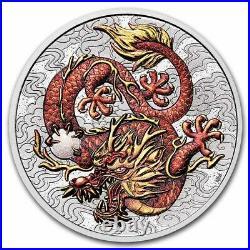 2021 P Australia 1 oz Silver Dragon Colored Coin NGC MS70 FR Flag Label Myths