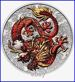 2021-P Australia 1 oz Silver Dragon Coloured BU On Hand