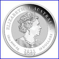 2021 P Silver Australia 10 Oz Lunar Year Of The Dragon $10 Coin