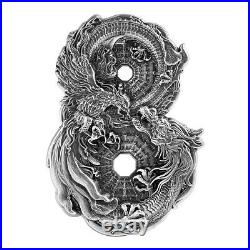 2021 Tokelau Dragon & Phoenix HR Figure 8 Shaped 3 oz Silver Antiq $15 PRESALE