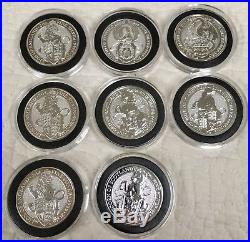 2oz Queens Beast Silver Coins Lot. Lion, Griffin, Dragon, Unicorn, Black Bull