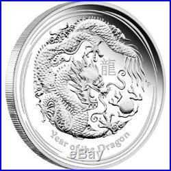 (5) 2012 Australia Lunar Series II Year Of The Dragon 1/2 oz Silver Coins GEM BU