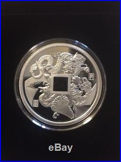 (5) 2018 CHINA DRAGON & PHOENIX 1 OZ SILVER PROOF WithOGP ULTRA LOW 5,000 MINTAGE