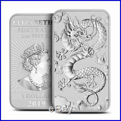 5 2019 1 oz. 999 Fine Silver Bars Australia Dragon Bar Coin- Uncirculated