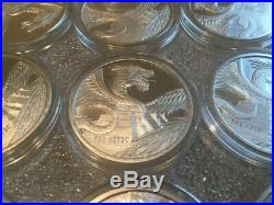 (5) Aztec World Of Dragons Series 1 Oz. 999 Silver Round Coin Air-tite Capsule