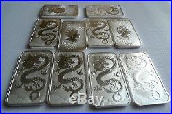5 Dragon 1oz silver bullion coin bars FIVE OUNCES pure 9999 silver 2019