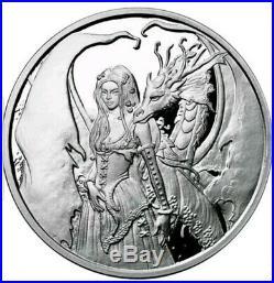 5 Oz 999 Pure Silver Proof Round Coin Dragon Secrets Amy Brown Bullion Coa Fairy